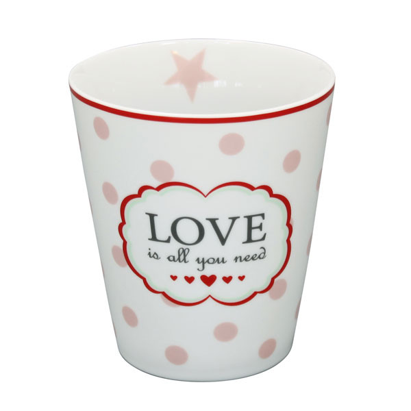 Happy Mug Becher Love Is All White