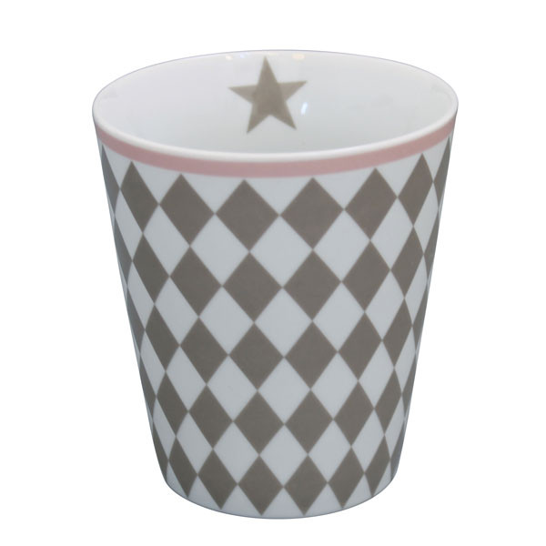 Happy Mug Becher Taupe Harlekin