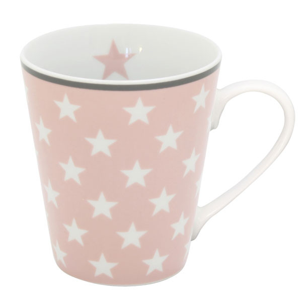 Happy Mug Becher Pink Star mit Henkel